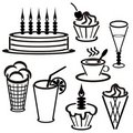 Set Withdesserts And Drinks Royalty Free Stock Photos - 14940578