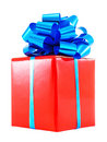 Red Gift Box With Blue Bow Royalty Free Stock Photography - 14947587