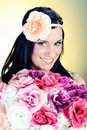 Retro Portrait Of Pretty Woman With Roses Royalty Free Stock Photography - 14965357