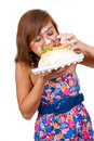 Girl Eating Cake With His Hands Stock Photography - 14998592