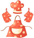 Kitchen Glove And Apron And Chef Hat Royalty Free Stock Image - 15034356