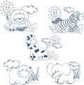 Cartoon Animals Jungle Set Outline Royalty Free Stock Images - 15066979