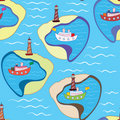 Funny Sea Seamless Pattern With Ships Royalty Free Stock Photos - 15168018