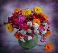 Still Life With Garden Carnations And Calendula Stock Images - 15170284