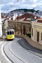 Typical Old Tram In A Street Of Lisbon. Portugal. Royalty Free Stock Image - 15185466