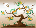 Blooming Tree With Hummingbirds Stock Photos - 15198933