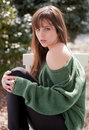 Gorgeous Young Woman In Green Sweater Stock Photography - 15242032