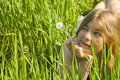Girl With A Dandelion Stock Images - 15264294