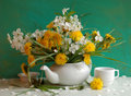 Still Life With Dandelions And Inflorescence Of Ch Royalty Free Stock Photos - 15264308