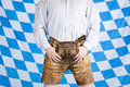 Bavarian Man With Brown Oktoberfest Leather Pants Royalty Free Stock Images - 15268959