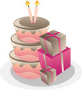 Birthday Cake And Gift Boxes. Stock Image - 15299651
