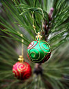 Green And Red Christmas Bulbs Royalty Free Stock Photos - 1535528