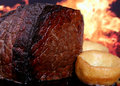 English Roast Meat By Fire With Flames Royalty Free Stock Photography - 1538317
