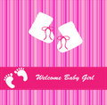 Baby Girl Arrival Announcement Card Royalty Free Stock Photo - 15326165