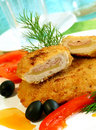 Schnitzel And Vegetables On White Plate Stock Photos - 15345653