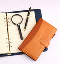 Notebook Pen And Magnifying Glass Royalty Free Stock Photography - 15391517