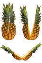 Set Of Two Halves Of Pineapple Royalty Free Stock Photography - 15417747