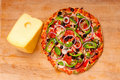 Pizza With Vegetables And Pepperoni Royalty Free Stock Image - 15424156