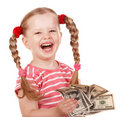 Happy Child With Money Dollar. Stock Photography - 15425332