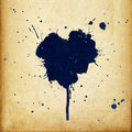 Vintage Heart Shaped Blue Ink Stains. Royalty Free Stock Photography - 15429617