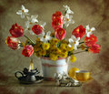 Still Life With Tulips, Narcissuses And Dandelions Stock Image - 15439491