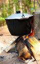 Kettles Over Campfire Stock Photography - 15472362