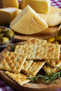 Salty Cracker And Hard Cheese Stock Photos - 15496573