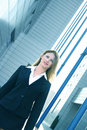 Businesswoman In Black Suit Angled Blue Tint Royalty Free Stock Photo - 1557525