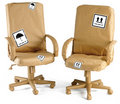 Office Chairs All Wrapped Up In Brown Paper For A Stock Images - 15506664
