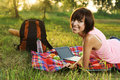Lovely Girl On Picnic In The Park Royalty Free Stock Photo - 15520115