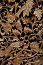 Pattern Of Rose Carved On Wood Stock Photography - 15586002