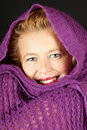 Woman With Purple Woolen Scarf Stock Photography - 15594162