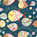 Seamless Pattern With Autumn Leaves And Fish Stock Photos - 15621433