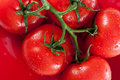 Ripe Red Tomatoes On Red Plate Royalty Free Stock Photo - 15630185