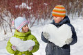 Teenager Boy And Girl Keep Hearts From Snow Stock Images - 15690474