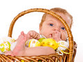 Baby Boy In The Easter Basket Royalty Free Stock Photo - 15707935