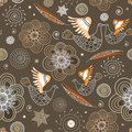 Seamless Pattern Of Ornamental Birds And Flowers Royalty Free Stock Photos - 15709198