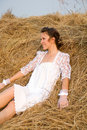 Country  Bride On Haystack Royalty Free Stock Photography - 15755457