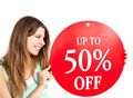Bright Caucasian Woman Holding Promotional Banner Stock Photo - 15786710