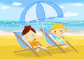 Little Girls Seated On Deckchairs At Seaside Royalty Free Stock Photo - 15833195