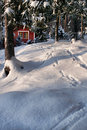 Red Hut In Winter Forest Stock Photo - 15885900