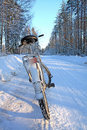 Bicycle On Winter Road Stock Photos - 15920393
