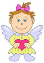 Girl-angel With Heart Stock Photography - 15956522