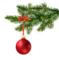 Red Glass Ball On Christmas Tree Royalty Free Stock Photography - 15970927