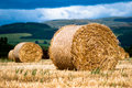Bales Of Hay On Meadow Against The Sky V1 Royalty Free Stock Images - 15997859
