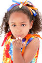 Beautiful Young Girl In Tie Die Outfit Blowing A Kiss Stock Photography - 167732