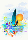 Wind Surfing Illustration Royalty Free Stock Images - 16003929