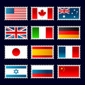 Flags Stamps Royalty Free Stock Photo - 16010935