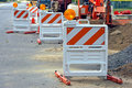 Traffic Barriers At Road Construction Work Site Stock Photos - 16042023