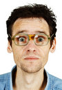 Amusing Tousled Man In Old Ridiculous Spectacles Stock Image - 16064221